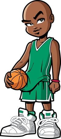 afroamericanas: Fresco y confidente negro jugador de baloncesto americano africano con actitud y zapatillas grandes