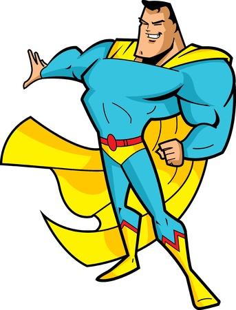 大きなあごの英雄的な姿勢でのスーパー ヒーローの笑みを浮かべて