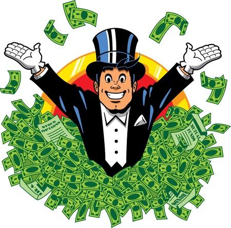 millonario: Rich millonario rico millonario feliz con sombrero de copa y frac rodeado por dinero
