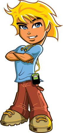 Knappe blonde jongen met blauwe ogen staan met gekruiste armen en een koptelefoon en muziekspeler Stock Illustratie