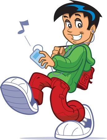 쿨 큰 운동화 산책하는 배낭과 아이 디지털 음악 플레이어와 헤드폰이나 이어폰에 음악을 듣고