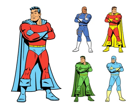 Conjunto de disfraces de superhéroes variaciones, incluyendo el superhéroe clásico con sonrisa de confianza y los brazos cruzados en la postura de héroe. Incluye 4 variaciones de superhéroes adicionales.