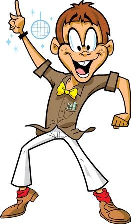 tanzen cartoon: Gl�ckliche Disco Tanzparty Mann Junge Aussenseiter mit Brille, Fliege und Disco-Kugel feiert in einem Nachtclub