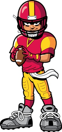 fuball spieler: k�hle harte american football player Quarterback mit einem L�cheln und Haltung