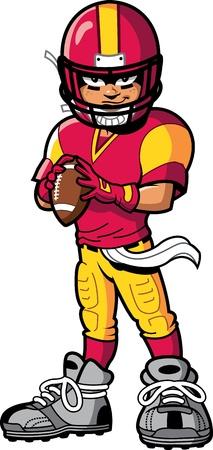 koele stoere american football speler quarterback met een glimlach en de houding