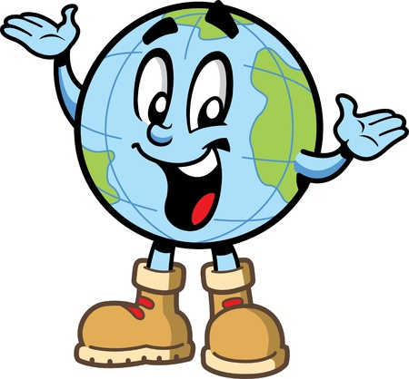 Happy lachende wereldbol reiswereld explorer stripfiguur met continenten en wandelschoenen Stock Illustratie