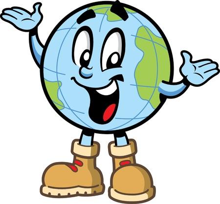 Happy sorridente globo mondo personaggio viaggi esploratore dei cartoni animati con i continenti e scarpe da montagna