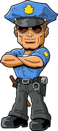 Tough pewni macho policjant z chłodnym okulary i ramiona skrzyżowanymi na piersi Ilustracje wektorowe
