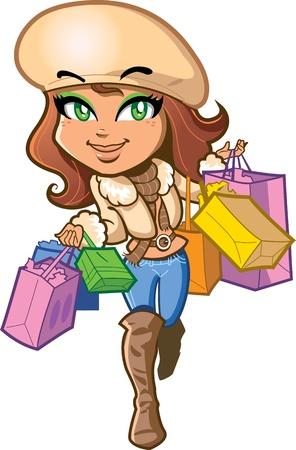 Bella elegante ragazza bruna è molto felice su un giro di shopping portando borse per la spesa