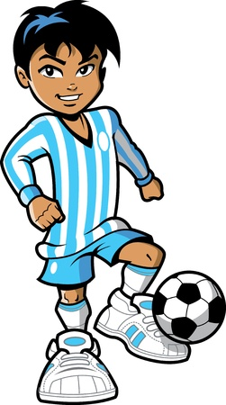 futbol soccer dibujos: Confiado muchacho sonriente joven hombre de fútbol jugador de fútbol con el balón de fútbol y zapatillas de grandes