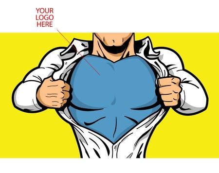 만화 슈퍼 히어로 그의 가슴에 당신의 로고와 함께 아래에 의상을 공개하는 개방 셔츠!