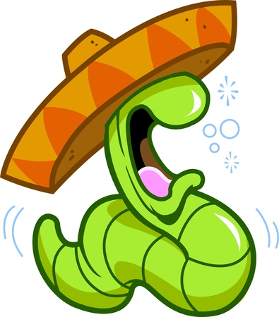 sombrero: drunk drinking partying celebrating tequila worm about to burp or hurl, wearing a mexican sombrero