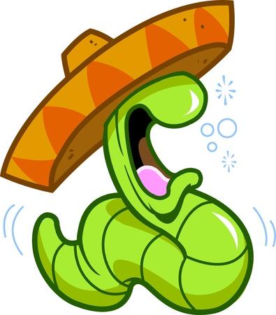 gusanos: fiestas potable borracho celebraci�n gusano del tequila a punto de eructar o lanzar, con un sombrero mexicano
