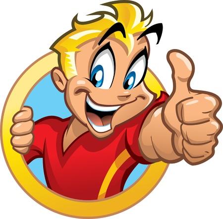 Happy lachende opgewonden blonde jongen in cirkel banner houden thumbs up met een hoog energieverbruik