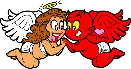 Romantic Cartoon Girl Angel and Boy Devil in Love Vector
