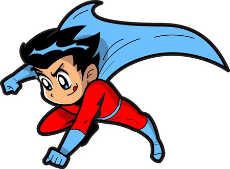 manga style: Anime Manga Boy Flying Superhero With Cape Making a Fist