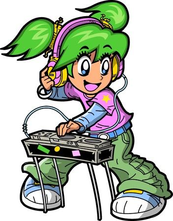 턴테이블을 흔들 애니메이션 만화 클럽 DJ 미소 일러스트