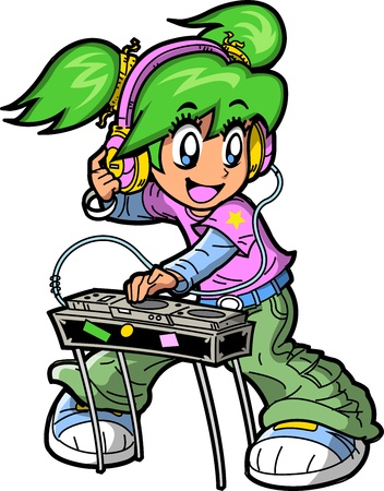 Smiling Anime Manga Club DJ Rocking the Turntables Vector