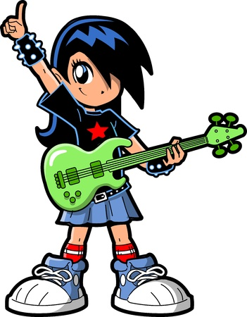young musician: Anime Manga Girl Goth Emo Rock Star Guitar Bass Player Illustration