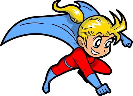 Anime Manga Blond Jong Meisje vliegen Superhero Met Kaap