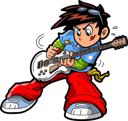Anime Manga Rock Star Guitar Player Stock Illustratie
