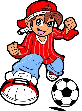 幸せな若い男のアニメ漫画の漫画のスタイルで少年サッカー選手