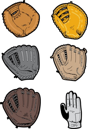 baseball: Six Assorted Professional Baseball Glove Types: switch throwers glove, outfielders glove, pitchers glove, infielders glove, first basemans glove, catchers mitt,  Illustration