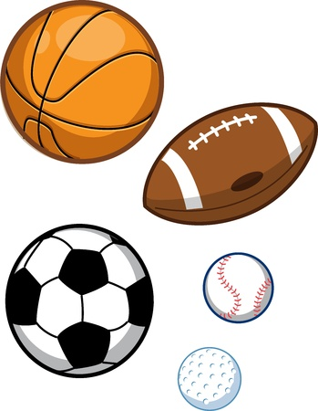 little league: Assorted Sports Balls; Basketball, Football, Soccer Ball, Baseball, Golf Ball Illustration