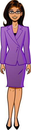 Attractive Ethnic Businesswoman in Power Suit Illustration