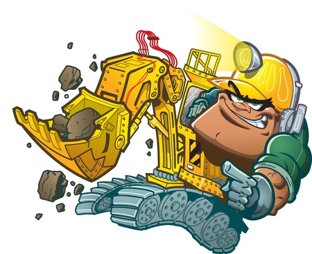 machinery: Cartoon Backhoe Driver with Helmet Lamp