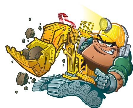 Motorista de retroescavadeira dos desenhos animados com lâmpada do capacete