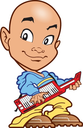 Bald Techno Keyboard Player on the Keytar Vector