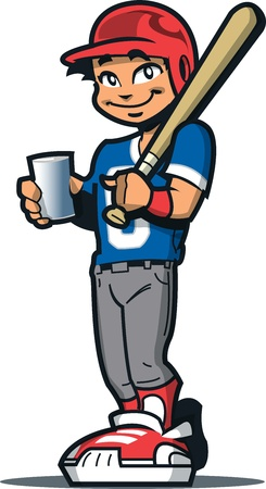 man drinking water: Smiling Baseball Softball Little League Player With Bat, Batters Helmet and a Drink Illustration