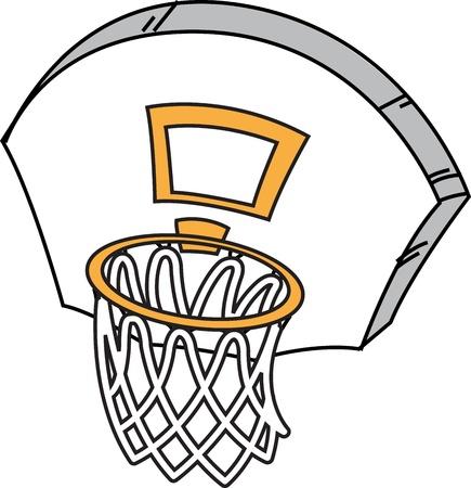 漫画のバスケット ボールのフープ、ネット、バックボード