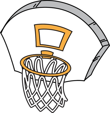 Cartoon Basketball Hoop, Net and Backboard