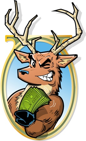 Joke Illustration of Big Bucks, Smiling Buck With Roll of Money