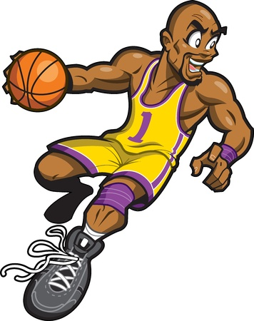 dribbling: Happy Bald Black Basketball Player Smiling and Dribbling the Ball Illustration