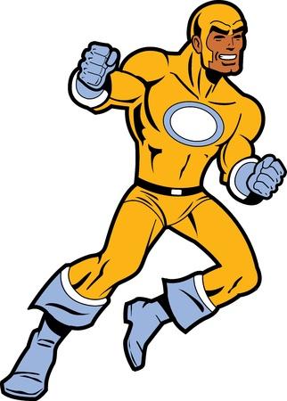 Zwart Superhero Met gebalde vuisten vechten en gooien van een punch