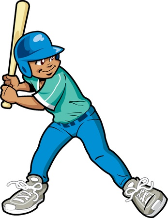adolescent african american: Young Boy Baseball or Softball Batter