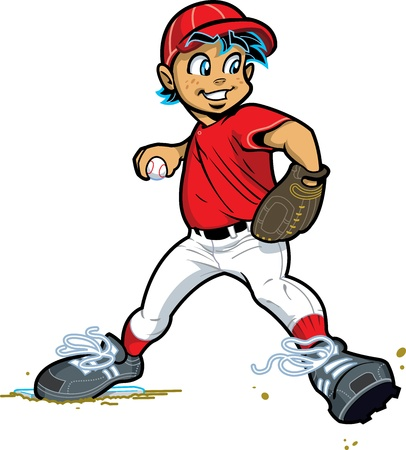 baseball cartoon: Young Boy Pitcher for Baseball and Softball