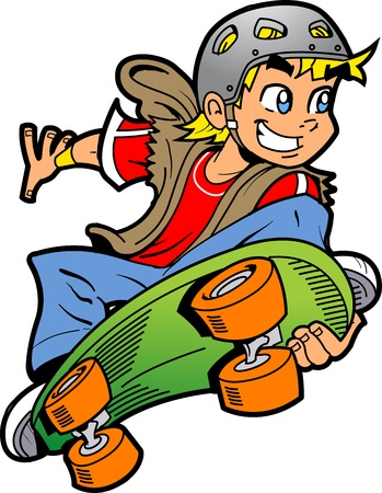 boy skater: Cool Smiling Young Man or Boy Doing an Extreme Skateboard Jump Illustration