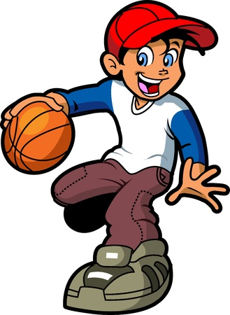 Happy Young Boy Smiling and Dribbling Basketball Vector