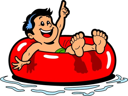 Happy Boy Floating on an Inner Tube in the Water