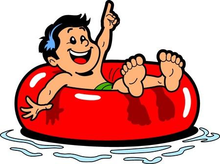 Muchacho feliz que flota en una cámara de aire en el agua