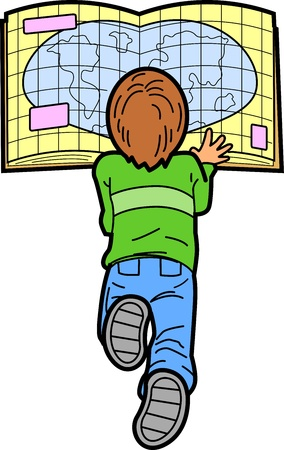 Boy Laying on the Floor Reading a Map Vector
