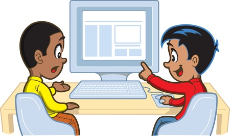 Two Young Boys Looking at Something on a Computer 일러스트