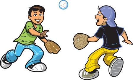 Dos niños felices jugando a la pelota con el béisbol y guantes de béisbol Ilustración de vector