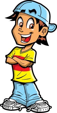 student boy: Sorridente Felice Fun ragazzo con le braccia incrociate Vettoriali
