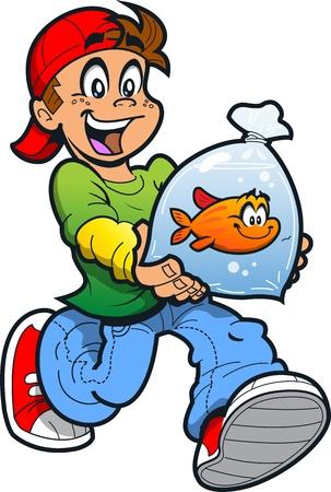 ビニール袋に彼のペット金魚と幸せな少年