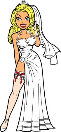 웨딩 드레스와 섹시한 가터 벨트와 함께 아름 다운 금발 신부